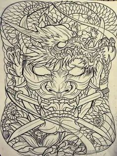 Japan Tattoo Design, Tattoo Design Drawings, Cool Art Drawings, Japanese Back Tattoo, Japanese Sleeve Tattoos, Japanese Art, 3d Dragon Tattoo, Dragon Tattoo Designs, Lion Tattoo