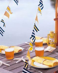 Preppy summer flags as nautical wedding decor