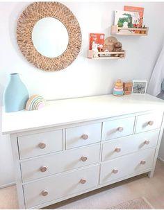 White Dresser Nursery, Ikea White Dresser, Ikea Nursery, Nursery Room Decor, Nursery Neutral, Nursery Ideas, Bedroom Ideas, Nursery Design, Ikea Hemnes Drawers