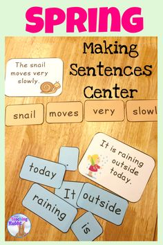 At this Spring literacy center, students arrange the words in each envelope to make sentences (spring themed). They can use the answer card to assist them or you can leave it out (depending on their level). They can print the sentences they have made in their notebooks. A great literacy center for K-1 students! It comes with 15 sentences.