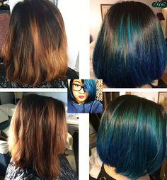 Blue Balayage Ombre #shorthair #bluehair #balayage #ombre #auqa #hair #bobcut #hairbymichlopez