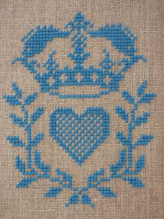 Royal Heart Cross Stitch Pattern | Felt