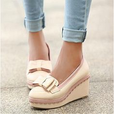 Womens Shoes, Womens Boots, Amazing Pink PU Cony Hair Round Closed Toe Wedge Low Heel Boots