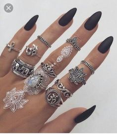 Black nails and jewelry