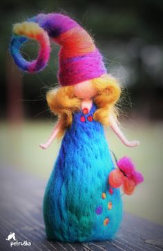 Your platform for buying and selling handmade items - Petruska in blue turquoise colors from PETRUSKAfairyworld on Etsy - Rock Crafts, Yarn Crafts, Felt Crafts, Wool Needle Felting, Needle Felted Animals, Felt Angel, Selling Handmade Items, Felt Fairy, Art Textile