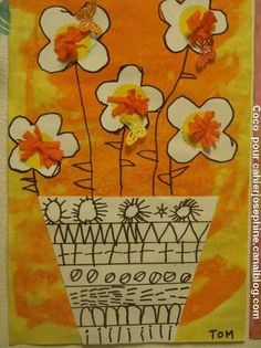 graphisme les fleurs Spring Crafts For Kids, Art Plastique, Flower Crafts, Art Lessons, Projects To Try, Arts And Crafts, Jar, Easter, Advent