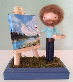 Funny pictures about Miniature Bob Ross. Oh, and cool pics about Miniature Bob Ross. Also, Miniature Bob Ross photos. Clothespin Art, Happy Little Trees, My Sun And Stars, Little Doll, Looks Cool, In This World, Just In Case, Geek Stuff, Make It Yourself