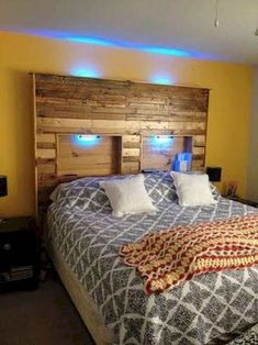 Wooden Pallet Furniture Picture of Pallet Headboard With Lights - My wife was wanting a headboard for our bed. I had some used pallets I had gathered for other projects so I decided to build a headboard. I searched around the . Pallet Lounge, Diy Pallet Sofa, Wooden Pallet Projects, Wooden Pallet Furniture, Pallet Beds, Diy Projects, Outdoor Pallet, Pallet Benches, Pallet Tables