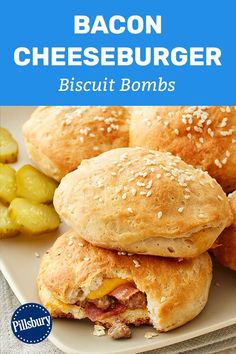 Then this biscuit bomb is going to blow your mind! Serve it with all your favorite burger fixings for the ultimate game day meal. Meat Recipes, Appetizer Recipes, Dinner Recipes, Cooking Recipes, Healthy Recipes, Appetizers, Cooking Cake, Sandwich Recipes, Delicious Recipes