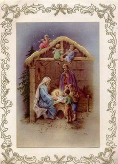 nativity vintage christmas card