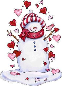 SNOWMAN AND HEARTS
