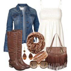 """""""Casual Fall Denim and Boots"""""""