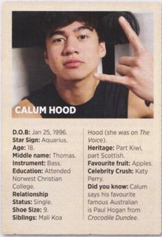 Calum Hood. I have the same favorite fruit, lol.
