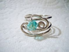 wire wrapped ring, handmade jewelry