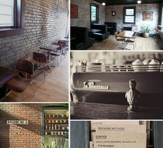 coffee shops with interior brick walls!