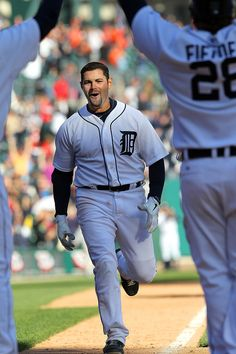 DETROIT, MI - APRIL 08: Alex Avila #13 of the Detroit Tigers runs towards home plate and teammates after hitting a walk-off home run in the eleventh inning to win 13-12 against the Boston Red Sox at Comerica Park on April 8, 2012 in Detroit, Michigan. (Photo by Dave Reginek/Getty Images)