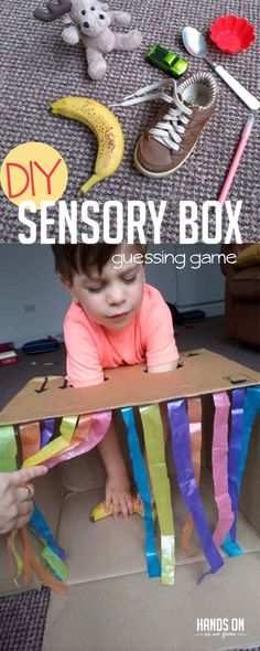 Practice important sensory skills with this fun sensory box guessing game activity. Your child will love playing detective with just the sense of touch. Toddler Learning Activities, Toddler Preschool, Preschool Activities, Kids Learning, Activity Games For Kids, Education Games For Kids, Physical Education, Tactile Activities, Health Education