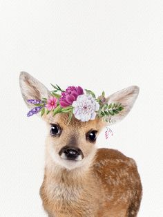 : Baby Deer with Flower Crown Mini Art Print by Amy Peterson Art Studioa,,C/ - Without Stand - x Image Deco, Baby Room Art, Baby Deer, Watercolor Animals, Animal Paintings, Cute Baby Animals, Spirit Animal, Cute Wallpapers, Cute Art
