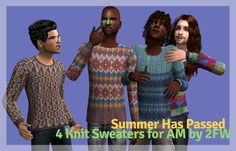 (Bigger image.) Summer has passed! And now it's time to break out those wool sweaters that your dad used to wear and go to town! :D Download here! :D Mesh included.