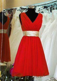 Red Bridesmaid Dress/ Short Bridesmaid Dress / Chiffon Homecoming Dress / Affordable Party Dress/ Bridesmaid dresses/