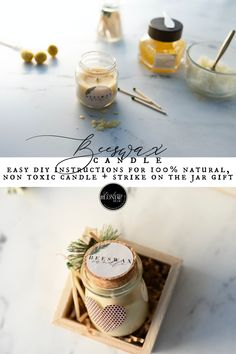 Easy DIY candle  Christmas gift, step by step instructions beeswax with strike on the jar match set
