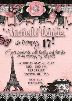 Paris Theme Birthday Party Invitation by DecidedlyDigital on Etsy, $15.00