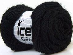 Lot of 8 Skeins ICE SOUFFLE ALPACA (40% Baby Alpaca 30% Wool) Yarn Black - Yarn
