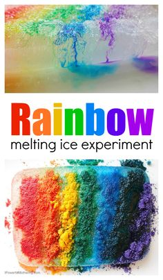 This melting ice experiment for preschool lets kids experiment with salt and ice in a rainbow style! See the difference between using color salt vs water colors. Science For Toddlers, Science Experiments For Preschoolers, Lesson Plans For Toddlers, Preschool Lesson Plans, Science For Kids, Water Experiments For Kids, Science Fun, Water Crafts Preschool, Preschool Science Activities