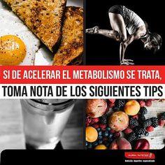 Para acelerar el metabolismo, estos son los tips a tener en cuenta. - Establece un horario fijo para tu alimentación - No omitas ninguna de las comidas programadas, que no falte el #desayuno en tu dieta - Incluye siempre algún tipo de carne en las horas de la noche en lugar de queso o huevo - Incluye todos los días infusión de #TéVerde - Consume diariamente 5 porciones entre frutas y verduras - Hidrátate durante todo el día - Evita el arroz,  el pan y demás cereales refinados en las horas…