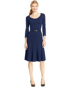 Dora Fung's Fall Must Have: Macy's NY Collection 3/4 Sleeve Printed Belted Midi Dress $47.99