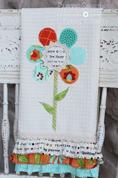 A flower dish towel using the Small Dresden Plate die from Sizzix.