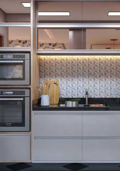 Interior Exterior, Interior Design Kitchen, Living Room Kitchen, Kitchen Decor, Kitchen Colour Schemes, Industrial House, Minimalist Kitchen, Home Decor Inspiration, 3 D
