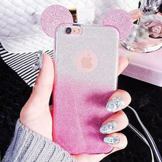3D Mouse Ears Glitter iPhone Case (5, 5S, SE, 6, 6S, 6Plus) - Sparkle Glitter Glam Disney Mickey Mouse Ears Phone Case Cover Skin - www.GlitterZoo.com