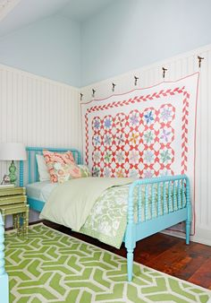 20 Breathtakingly Georgeous Ceiling Paint Colors and One That Isn't - laurel home. SARAH RICHARDSON – COUNTRY LIVING. INTUITION CSP 610 How charming is this girl's room. Whenever you have lots of angles, it's always better to paint them all one color.