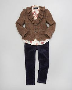 -3W19 Ralph Lauren Childrenswear Tweed Blazer, Floral Blouse & Corduroy Leggings