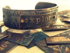 ideas for some old copper cuffs (etch, rivet, stamp, punch ad add dangles)    cuff  Diane Cook