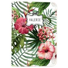 Tropical Floral Pattern Summer Travel [Name Customized] Leather... ❤ liked on Polyvore featuring men's fashion, men's accessories, mens travel accessories, vintage mens accessories and vintage men's fashion