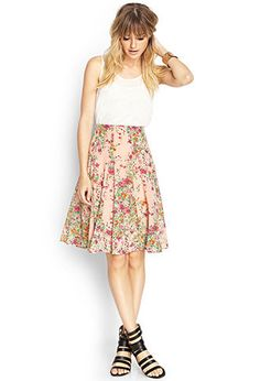 Floral Midi Skirt | FOREVER21 - 2000061755. I have been so obsessed with this skirt, but couldn't cough up the money for it. SO cute! gah!