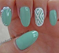 White Pearls Nails on mint polish #nailart #polish #manicure - See more nail looks at bellashoot.com & share your faves!