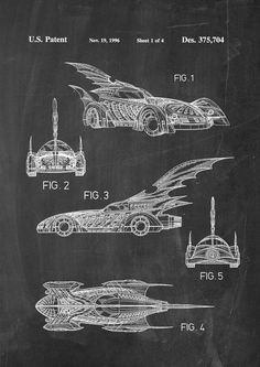 Batman Batmobile Patent Wall Art Poster by PatentPosters on Etsy