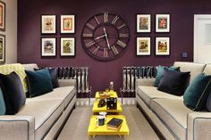 Clocks, Bedroom Wall Clocks Wall Clocks Target Large Wall Clock Frame Surrounding By Eight Printed Picture In Black Frame Hanging On The Purple Painted Wall In Living Room With : incredible bedroom wall clocks
