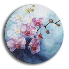 """Orchid charm"", circle canvas flowers painting, oil floral art Oil painting by Anna Steshenko Circle Painting, Flower Painting Canvas, Oil Painting Abstract, Canvas Art, Circle Canvas, Round Canvas, Circle Art, Orchids Painting, Gold Leaf Art"