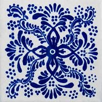 Mexican tiles pattern classic 33 has a navy blue design hand painted over white background. #mymexicantiles #mexicantiles #mexicantile #talaveratile