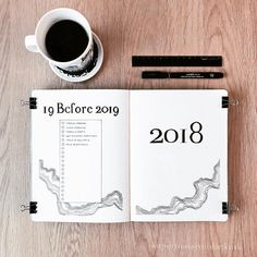 Bullet journal 19 before 2019, linear drawing, yearly bucket list, bullet journal yearly cover page. | @supermassiveblackink