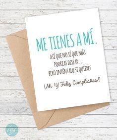 Spanish Birthday Card Love Me Tienes A Mi Funny Tarjeta Graciosa Mothers Day