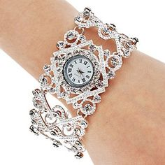Mujeres aleación analógico reloj pulsera de cuarzo (Negro), ¡Envío Gratis para Todos los Gadgets!