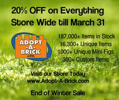 Bricklink is the world's largest online marketplace to buy and sell LEGO parts, Minifigs and sets, both new or used. Search the complete LEGO catalog & Create your own Bricklink store. Lego For Sale, End Of Winter, Lego Parts, Winter Sale, Custom Items, Brick, Adoption, March, Ship