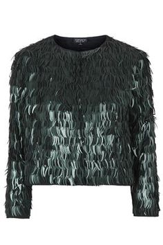 Topshop   Green Feather Sequin Jacket   Lyst