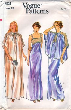 ca10e08695 1980s Vogue 7502 Misses Lace Trimmed Lingerie Pattern Negligee and Peignoir  Bed Jacket womens vintage sewing