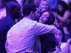 Rihanna and Drake at a basketball game in Los Angeles.
